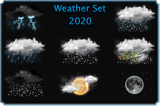Weather ico Black clouds set 2020