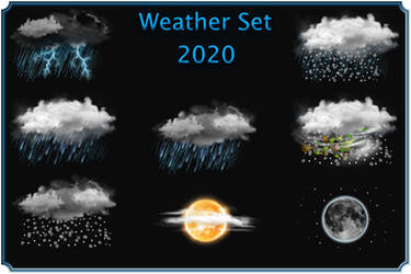 Weather ico Gray clouds set 2020