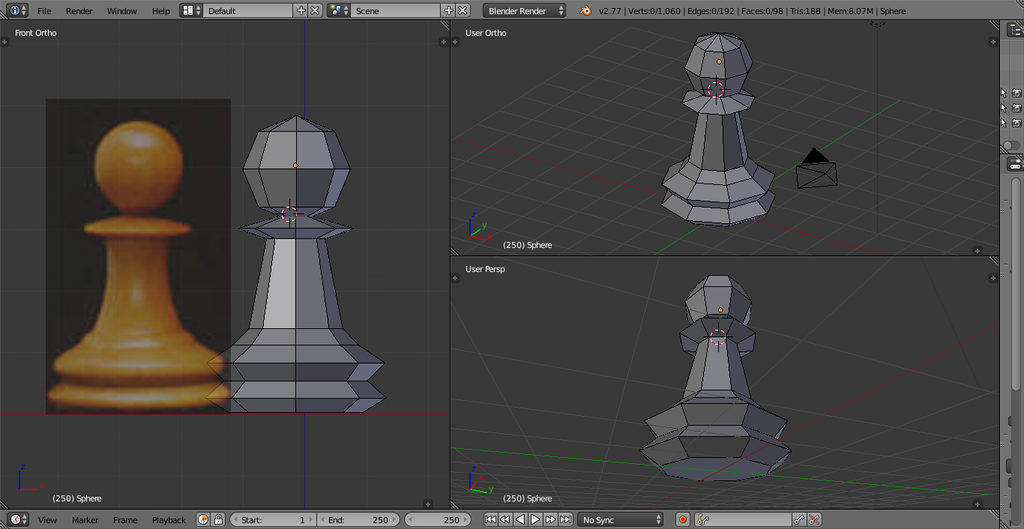 Chess Pawn - Low Poly by Chadowikku