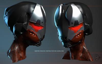 Hard surface helmet sketch