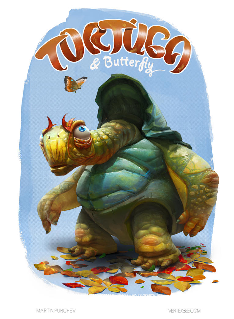 Tortuga and Butterfly by VertexBee