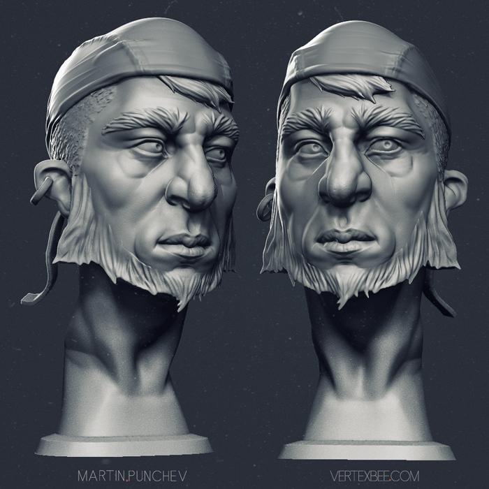 Pirate...no, rocker bust. :) by VertexBee