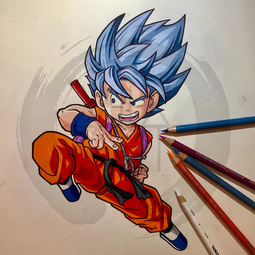 Kid Goku SUPER SAIYAN GOD by igViixArt on DeviantArt