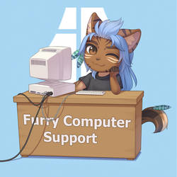 Furry Computer Support by CristalAvi