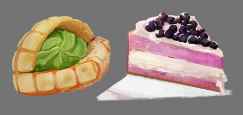 melonpan matcha and blueberry cheesecake