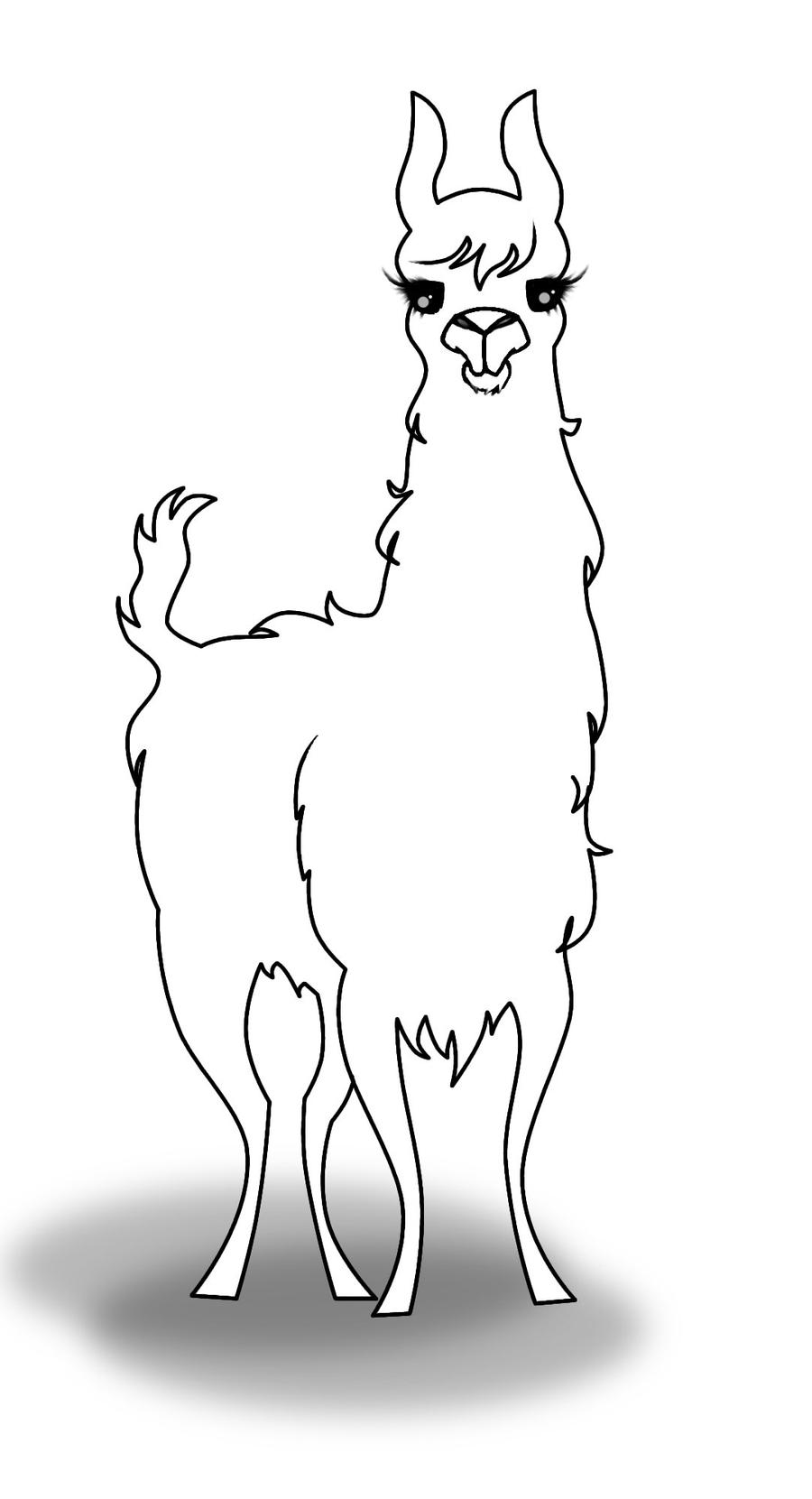 Llama Uncoloured By Nuctameron On Deviantart Llama Coloring Pages