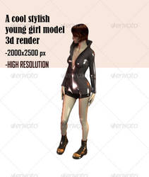 A Stylish Young Girl Model 3D Render by nishagandhi