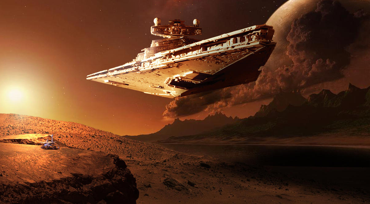 Star Destroyer over Mars by Maxyall