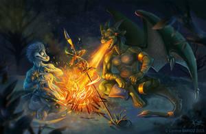 Drako on a campfire - Commission -
