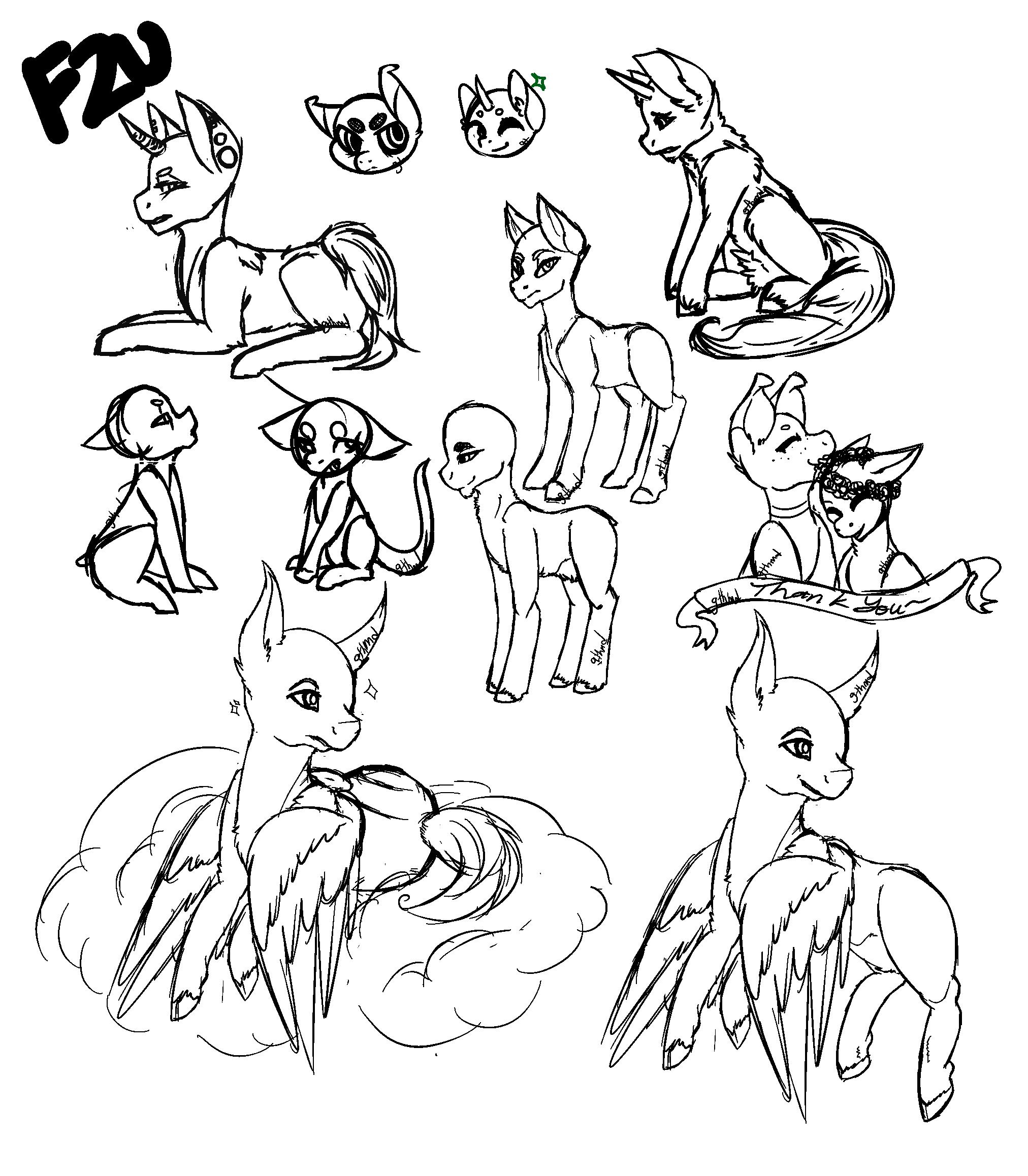 [F2U] Pony Sketches 2 by Gothamed