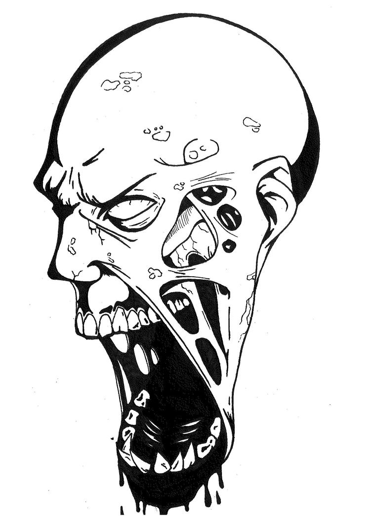 Zombie Face Line Drawing : Zombie xhythanon recreation by mokheir on deviantart