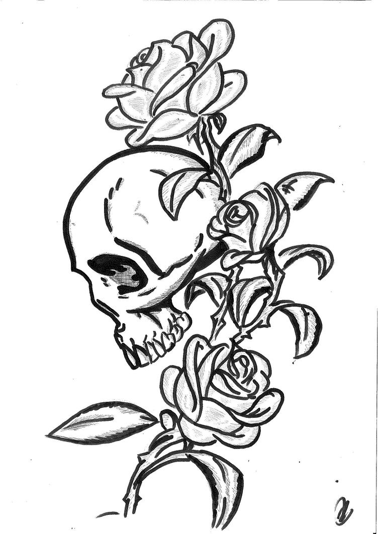 rose skull tattoo design by mokheir35 on deviantart. Black Bedroom Furniture Sets. Home Design Ideas