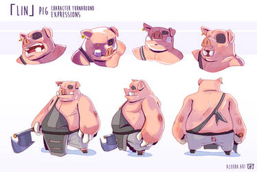 Lin - Pig Character Turnaround and Expressions by AzouraArt