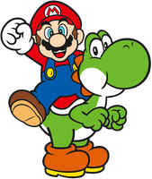 Super Mario: Mario riding Yoshi 2D by Joshuat1306