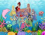 8 Mermaid Princesses in Coral Reef