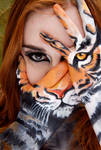 Tiger hand painting by larahawker