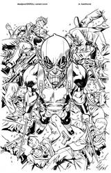 Deadpool Skrull variant cover inks by MisterHardtimes