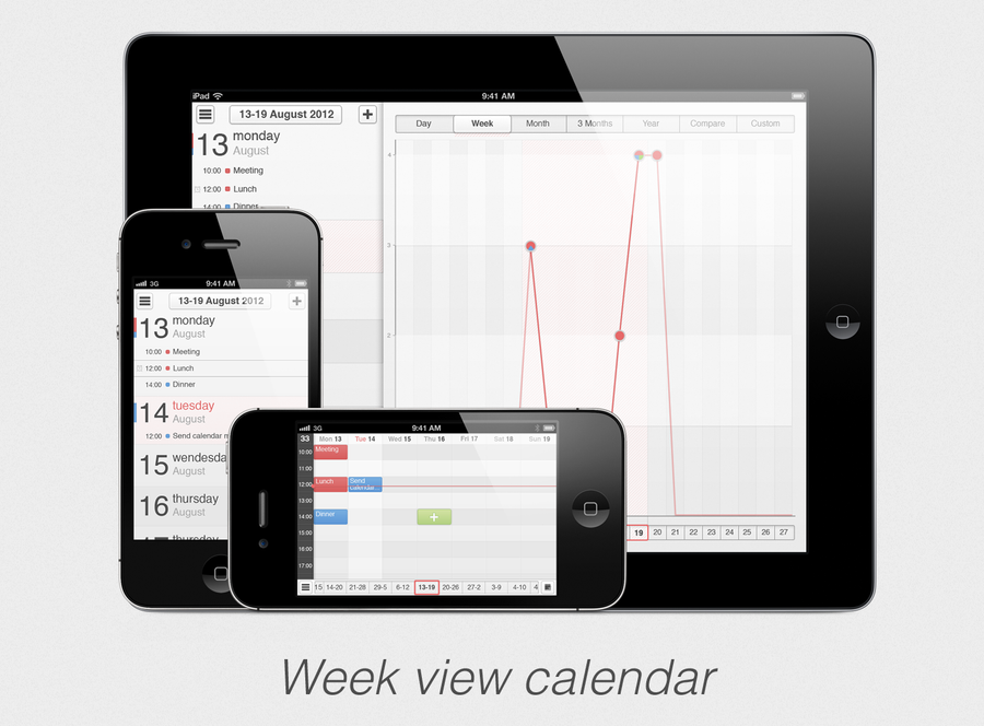Weekly Calendar View For Iphone Scrollable : Iphone ipad app concept calendar week view by sicfess