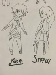 Noir and Snow Character Designs by ShoutaIzukai