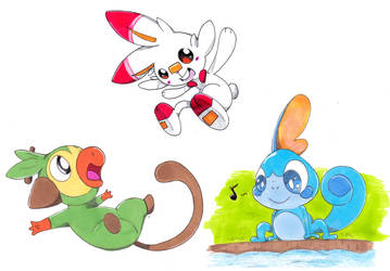 Grookey, Scorbunny and Sobble by Nid15