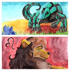 Lion and Varanidae - Bookmark