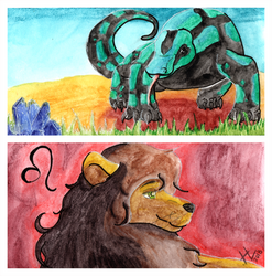 Lion and Varanidae - Bookmark