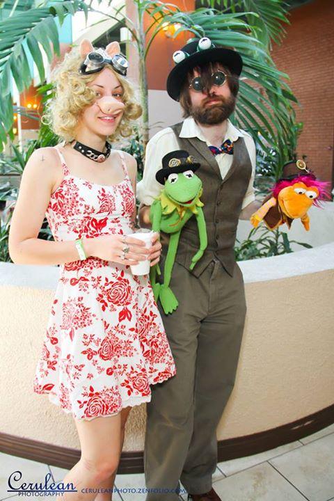 Steampunk Jim Henson with Steampunk Kermit/Piggy by The-Prez
