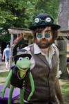 Steampunk Jim Henson with Steampunk Kermit