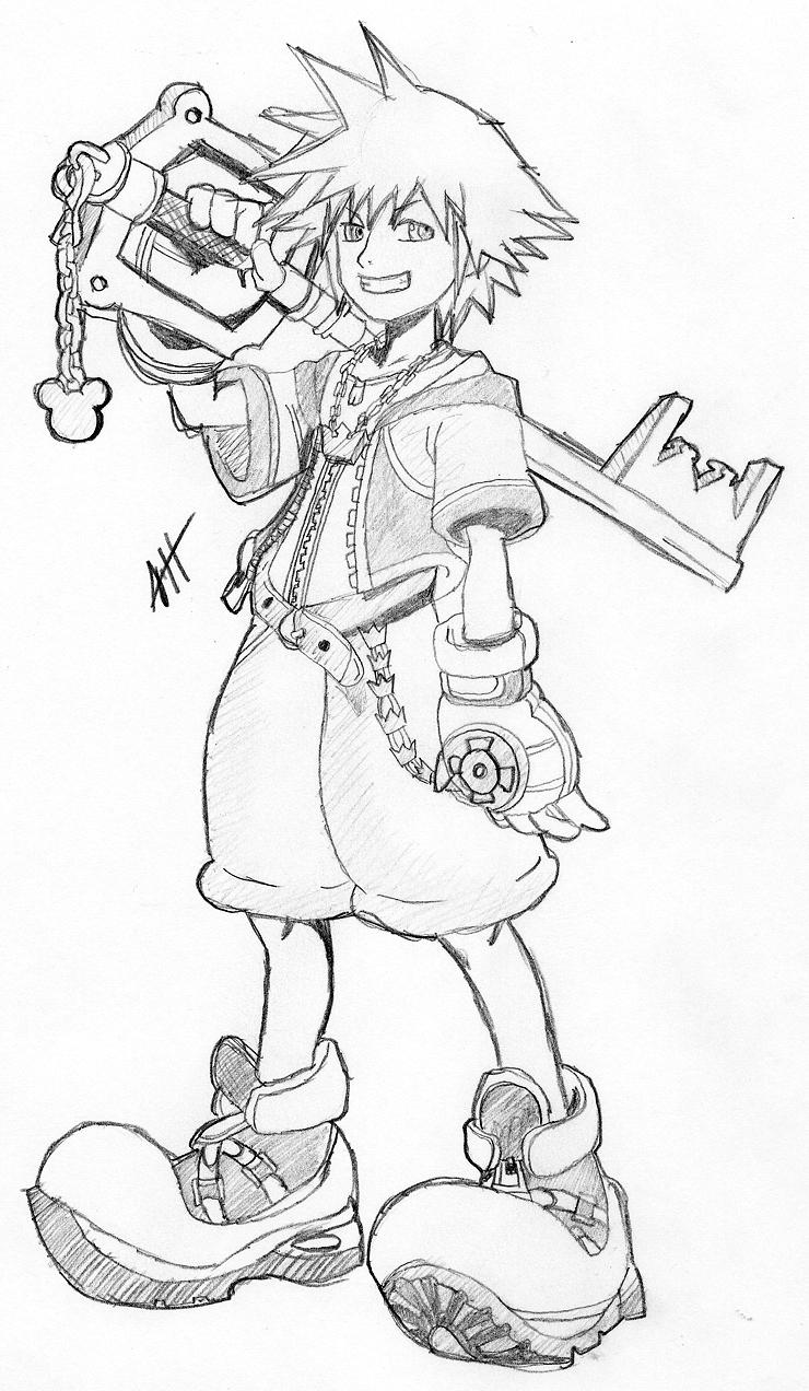 Sora Kingdom Hearts Lineart : Sora kingdom hearts by roadhouse hunter on deviantart