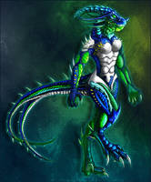 Anthro Opal Dragon by EmeraldRampage