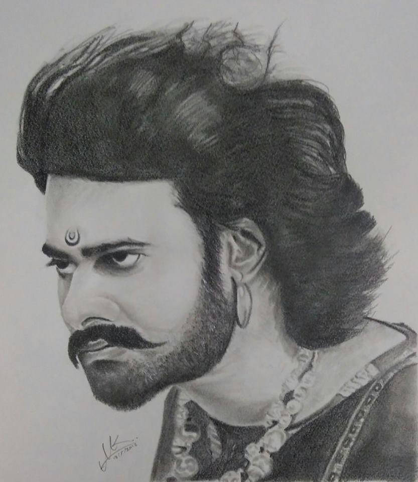 Handmade pencil sketch bahubali by portraitflip on deviantart