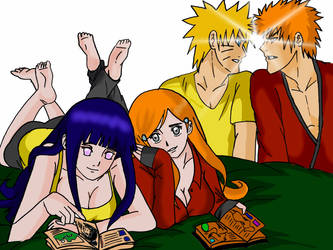 Naruto and Hinata visit Orihime and Ichigo by Okky-RightBrain