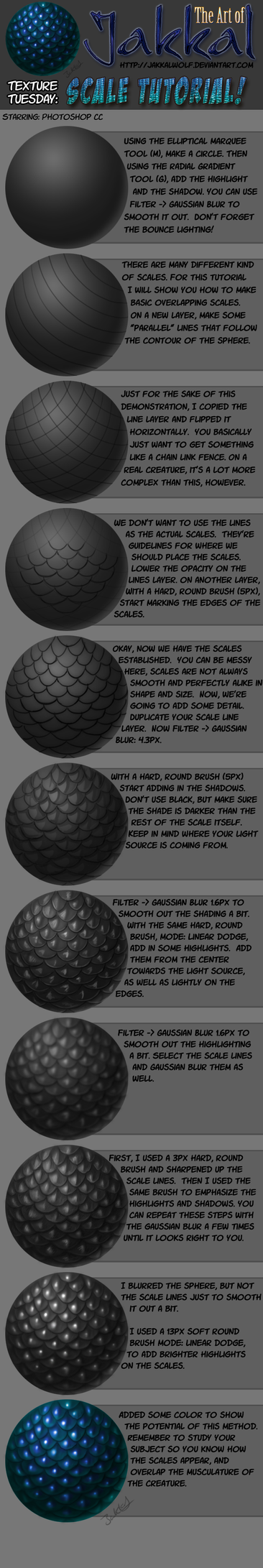 Texture Tuesday: Scales Tutorial by JakkalWolf