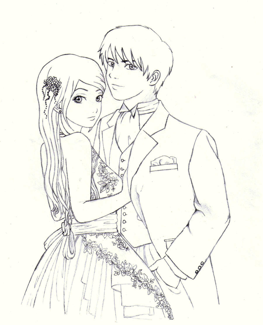 Anime Girl And Boy Hugging Easy Outlines