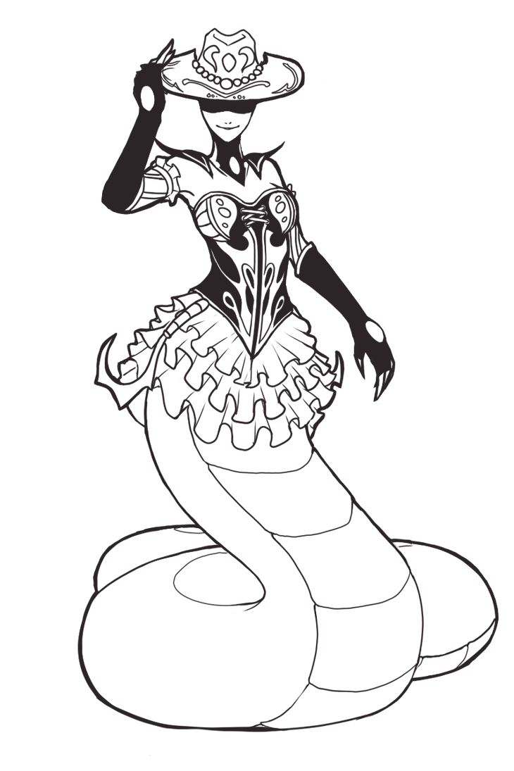 Rattlesnake Cassiopeia Lineart by Gladosy