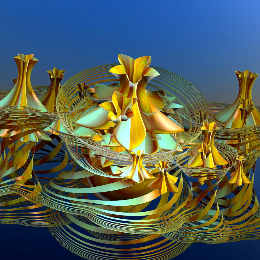 goldenblue metallic swirls by Andrea1981G