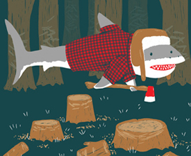 Society6 - LumberJack Shark by Nick Volkert - 4324 by whited-sepulchre