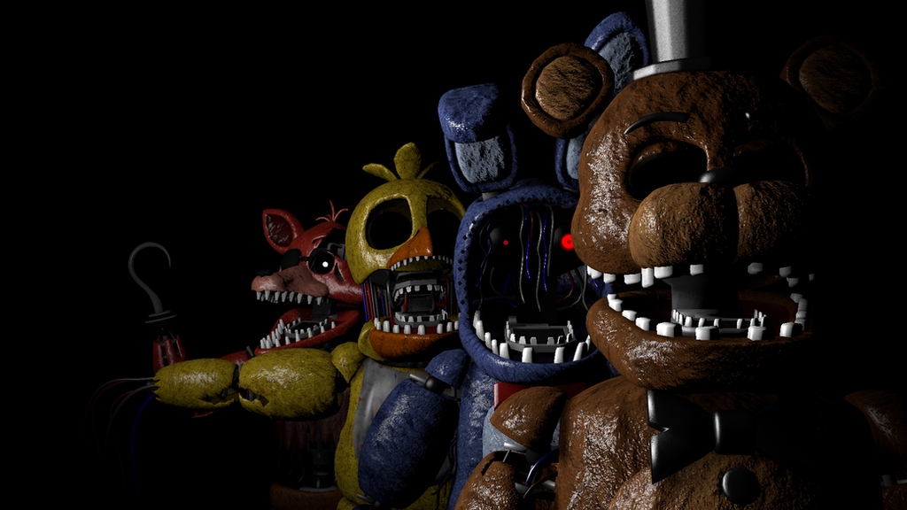 FNAF 2 Withered Animatronics title screen by candy-x-cindy