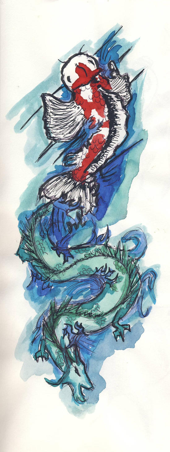 koi fish dragon tattoo concept by carolinewhitman on deviantart. Black Bedroom Furniture Sets. Home Design Ideas
