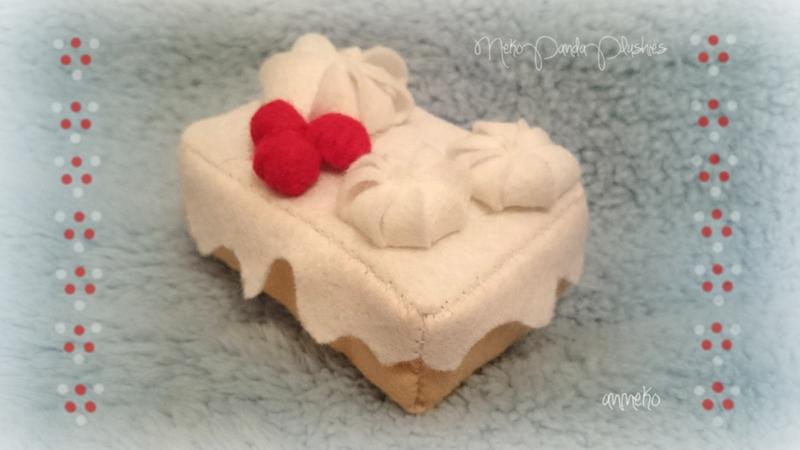 Red currant n' cream cake (for sale!) by NekoPandaPlushies