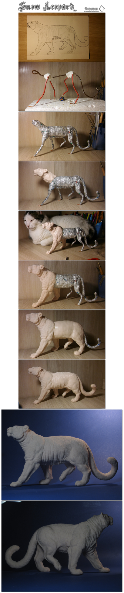 Snow Leopard sculpture [WiP] by Caremey