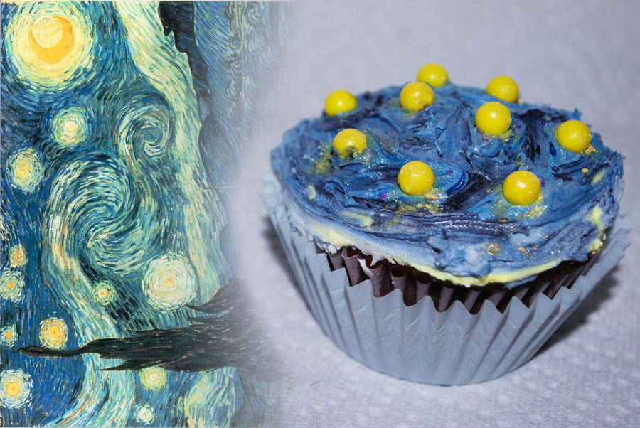 Starry Night Cupcake by ParadoxAndPlaid