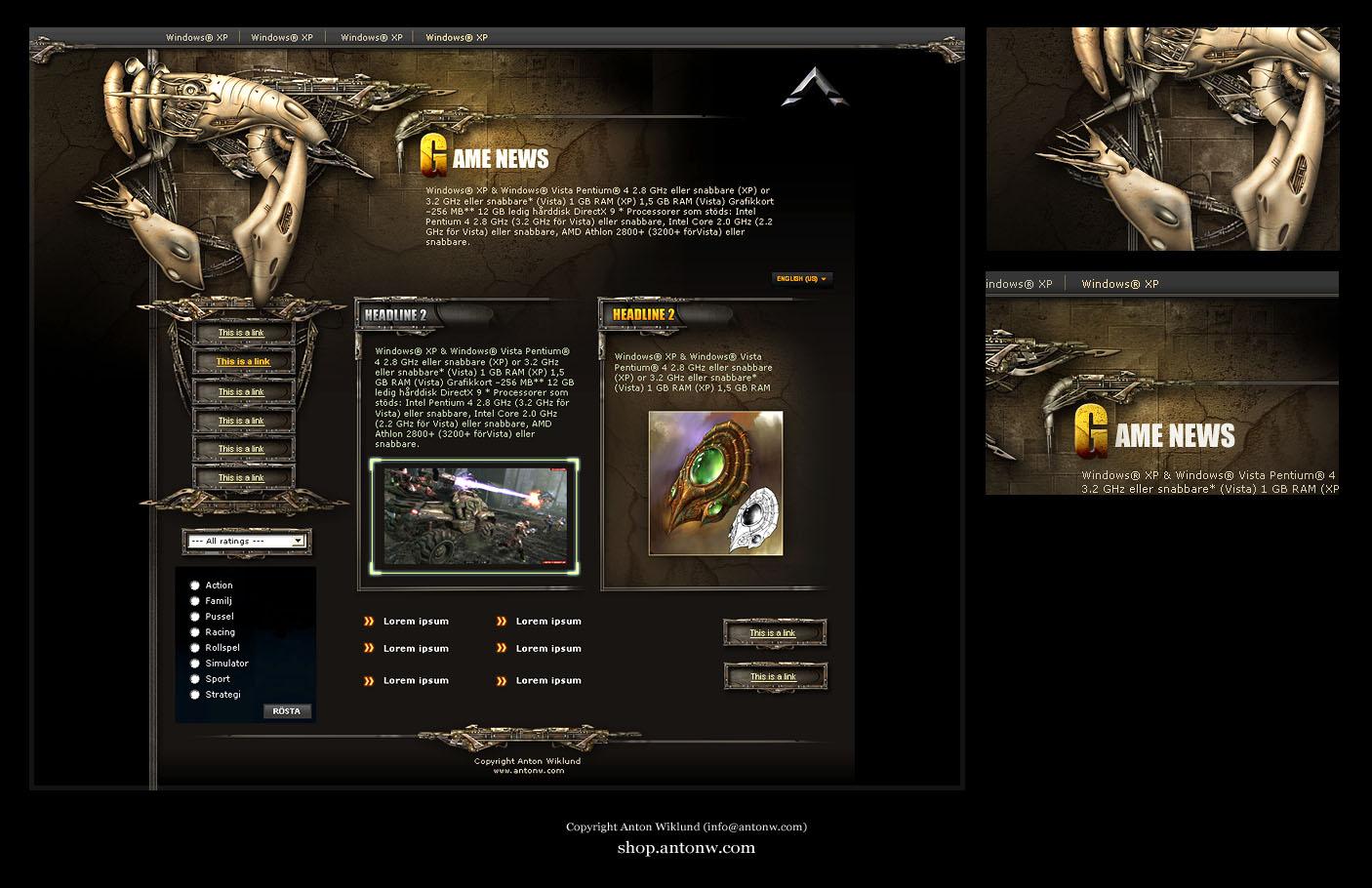 Game Site Template by karsten on DeviantArt