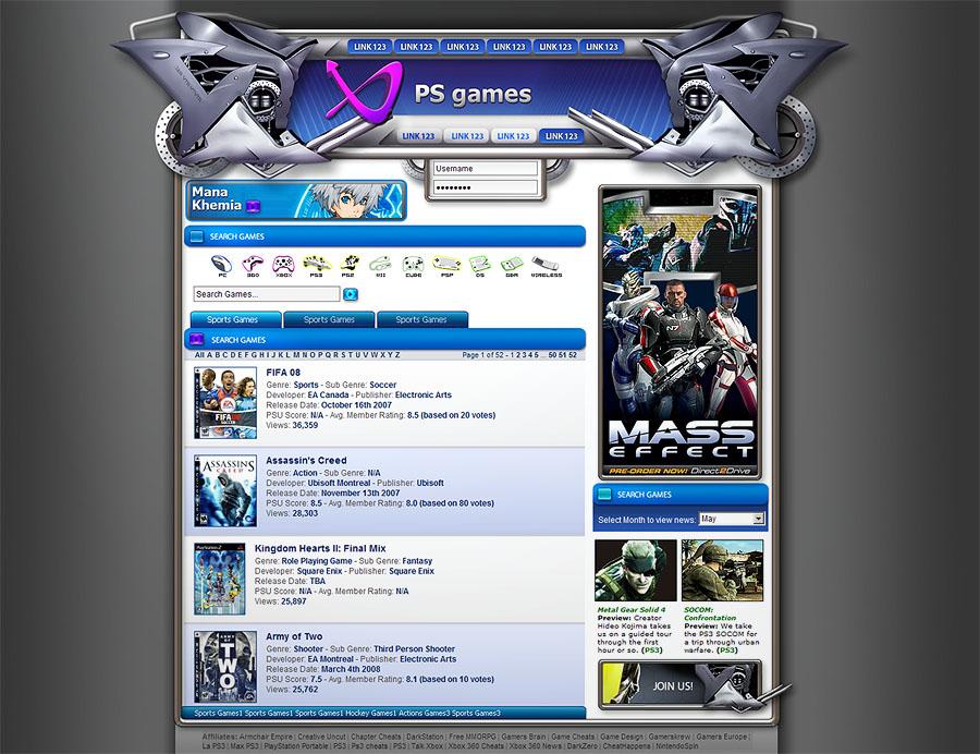 Playstation website template by karsten on deviantART