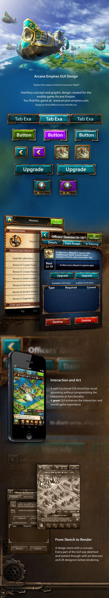 Arcane Empires Mobile Game GUI by karsten