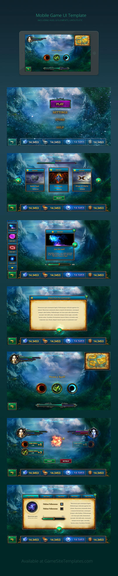 Mobile Game Fantasy UI by karsten