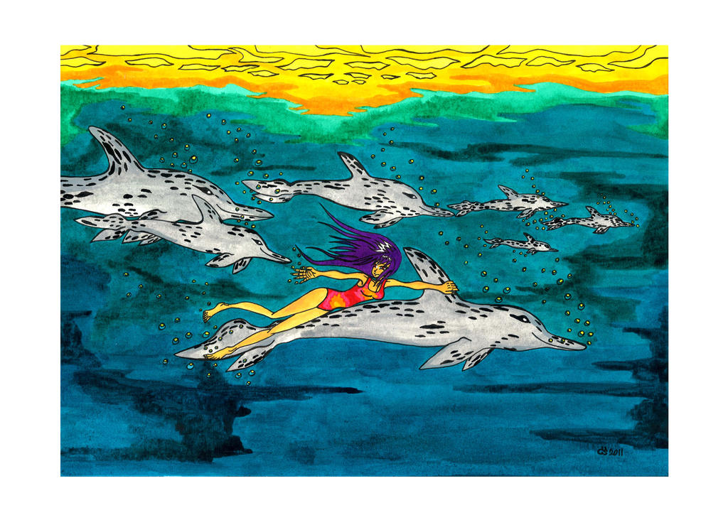 Swimming With Wild Dolphins by RainbowFay