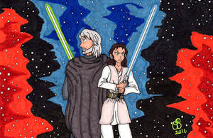 Jedi Knights Luke And Rey by RainbowFay