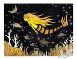 Golden Sea Turtles With Mermaid by RainbowFay