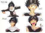 Hiei's Expressions by RainbowFay